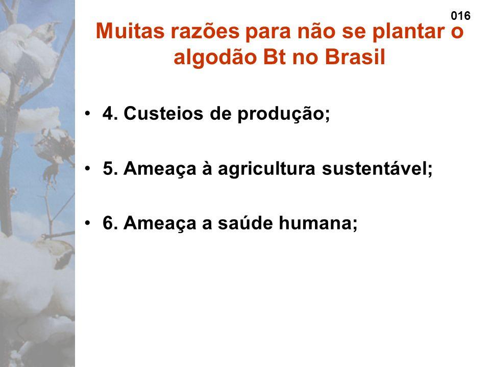 4. Custeios de produção; 5. Ameaça à agricultura sustentável; 6.