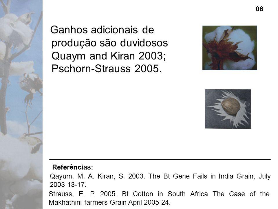 Ganhos adicionais de produção são duvidosos Quaym and Kiran 2003; Pschorn-Strauss 2005.