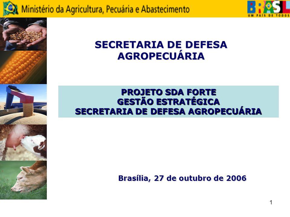 1 SECRETARIA DE DEFESA AGROPECUÁRIA PROJETO SDA FORTE GESTÃO ESTRATÉGICA SECRETARIA DE DEFESA AGROPECUÁRIA Brasília, 27 de outubro de 2006