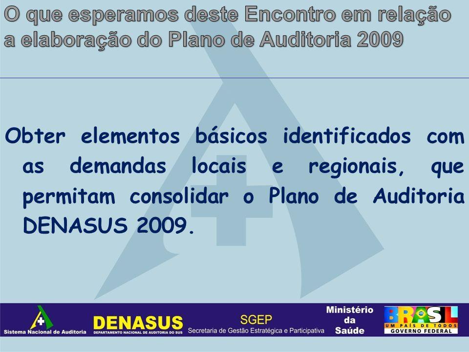 Obter elementos básicos identificados com as demandas locais e regionais, que permitam consolidar o Plano de Auditoria DENASUS 2009.