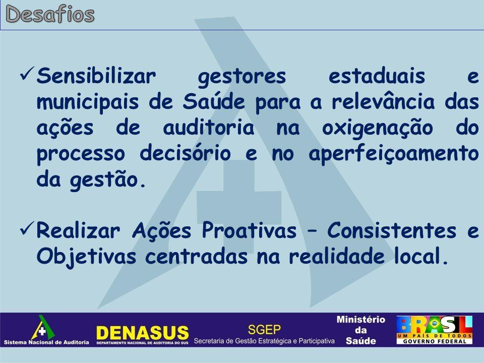Sensibilizar gestores estaduais e municipais de Saúde para a relevância das ações de auditoria na oxigenação do processo decisório e no aperfeiçoamento da gestão.