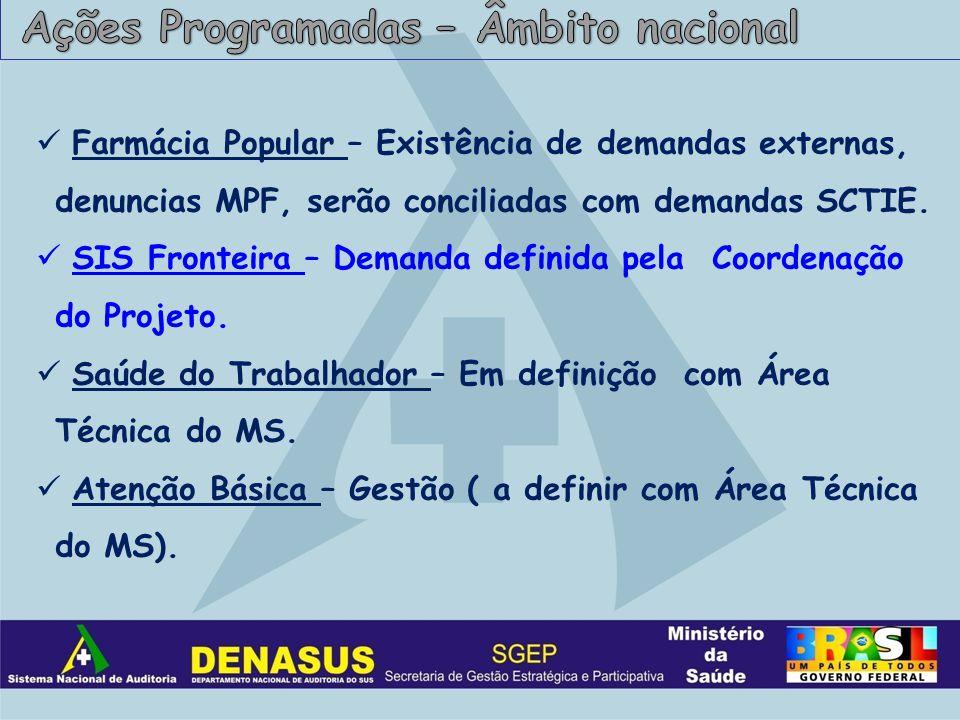 Farmácia Popular – Existência de demandas externas, denuncias MPF, serão conciliadas com demandas SCTIE.