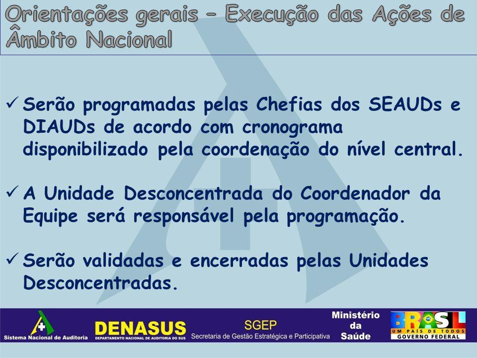 Serão programadas pelas Chefias dos SEAUDs e DIAUDs de acordo com cronograma disponibilizado pela coordenação do nível central.