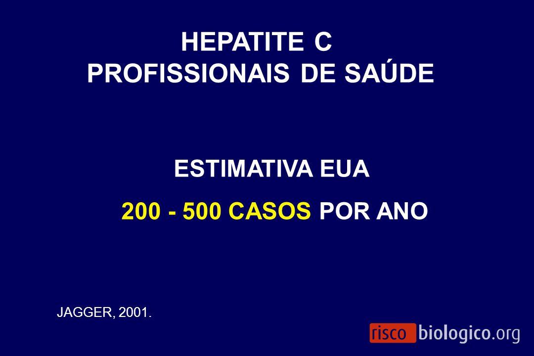 ESTIMATIVA EUA 200 - 500 CASOS POR ANO JAGGER, 2001. HEPATITE C PROFISSIONAIS DE SAÚDE