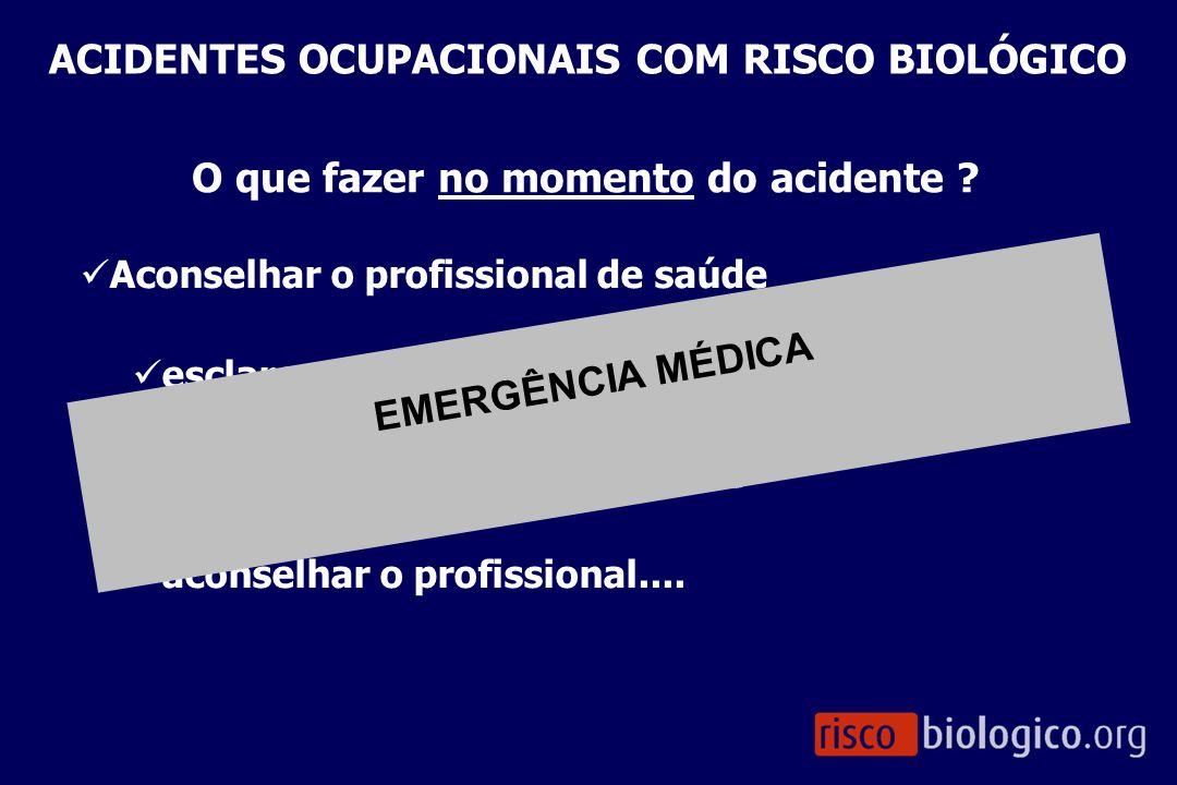 Aconselhar o profissional de saúde esclarecer as condições do acidente esclarecer os riscos envolvidos aconselhar o profissional.... O que fazer no mo