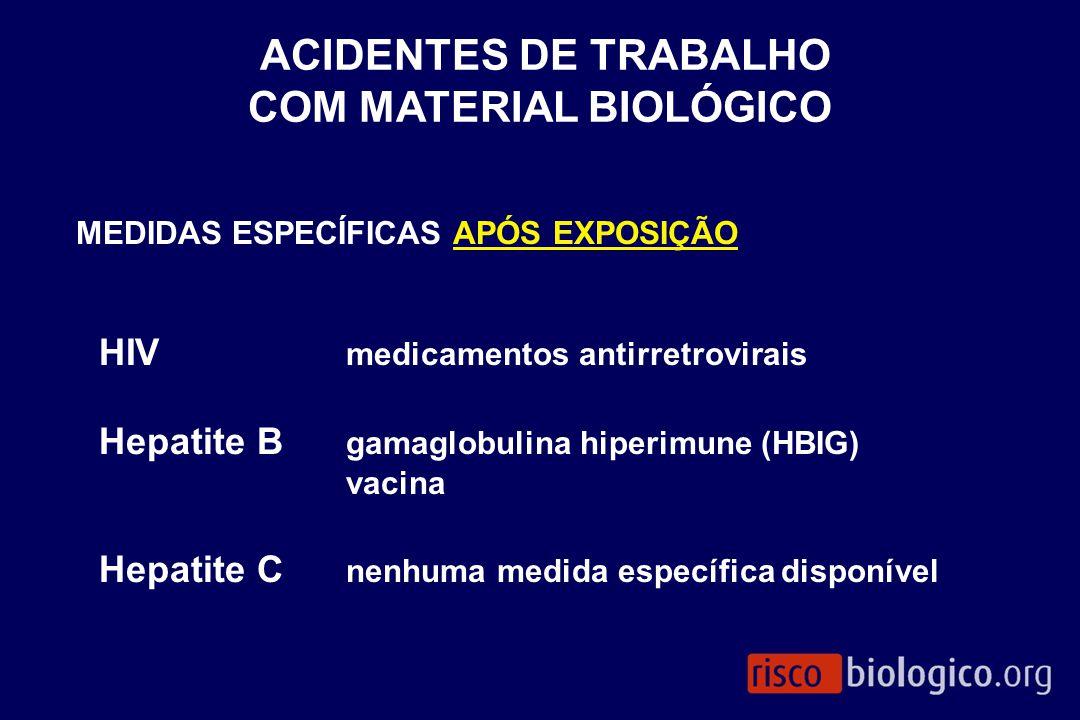 MEDIDAS ESPECÍFICAS APÓS EXPOSIÇÃO HIV medicamentos antirretrovirais Hepatite B gamaglobulina hiperimune (HBIG) vacina Hepatite C nenhuma medida espec