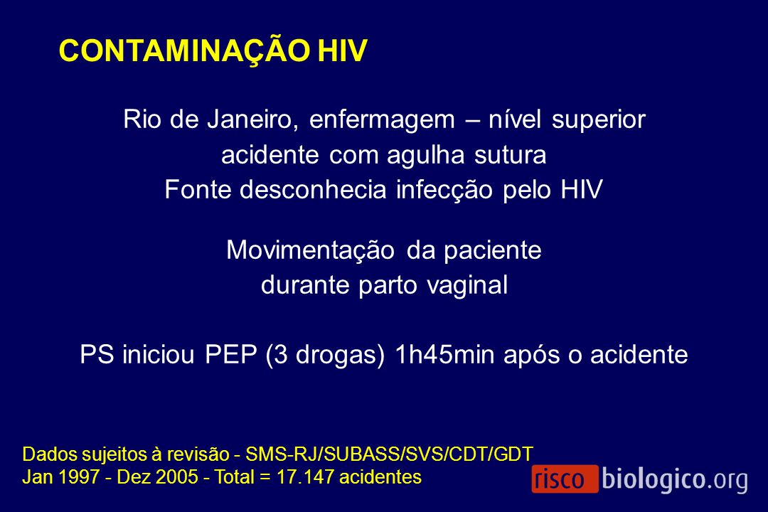 CONTAMINAÇÃO HIV Rio de Janeiro, enfermagem – nível superior acidente com agulha sutura Fonte desconhecia infecção pelo HIV Movimentação da paciente d