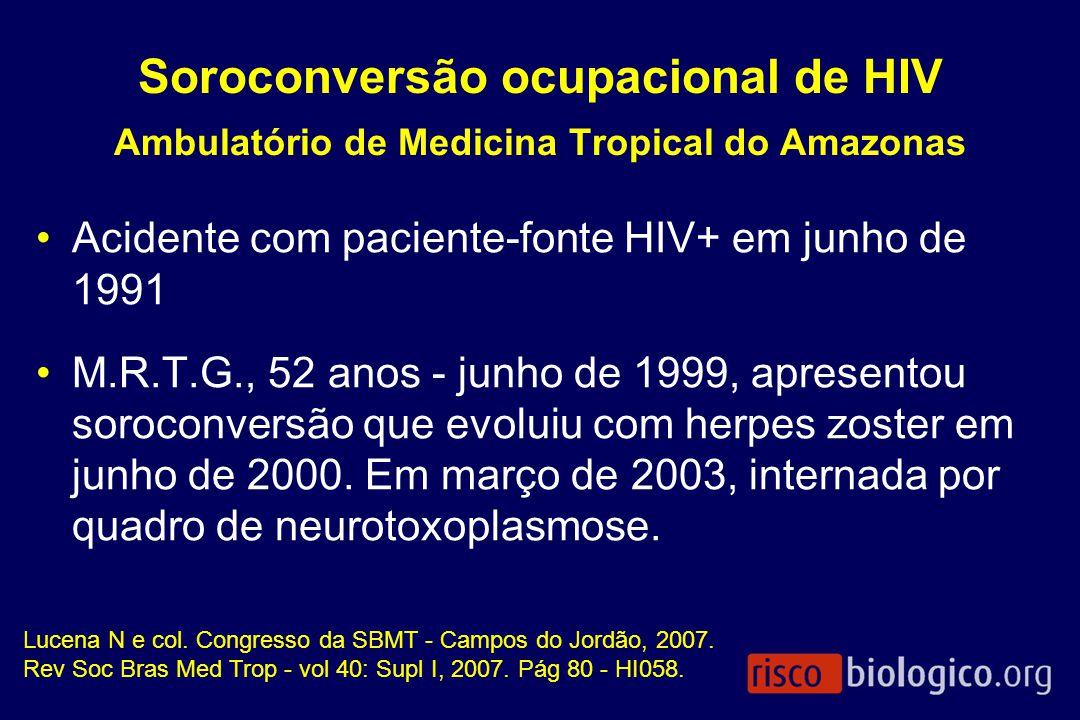 Soroconversão ocupacional de HIV Ambulatório de Medicina Tropical do Amazonas Acidente com paciente-fonte HIV+ em junho de 1991 M.R.T.G., 52 anos - ju