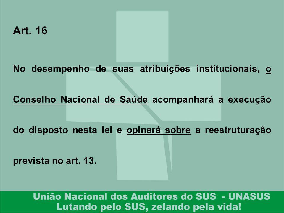 Art. 16 No desempenho de suas atribuições institucionais, o Conselho Nacional de Saúde acompanhará a execução do disposto nesta lei e opinará sobre a