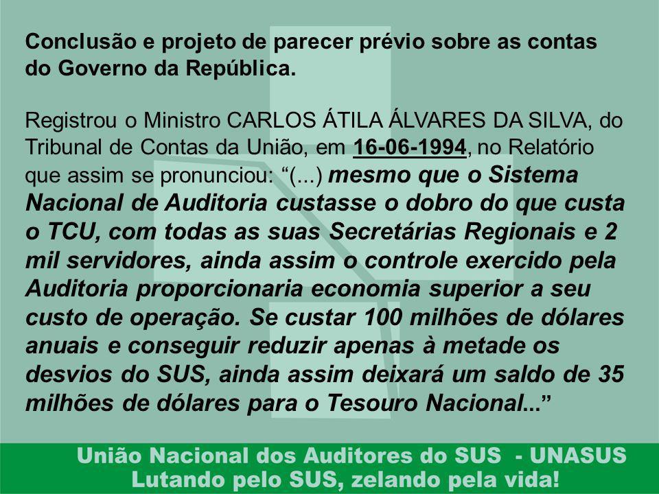 Conclusão e projeto de parecer prévio sobre as contas do Governo da República. Registrou o Ministro CARLOS ÁTILA ÁLVARES DA SILVA, do Tribunal de Cont