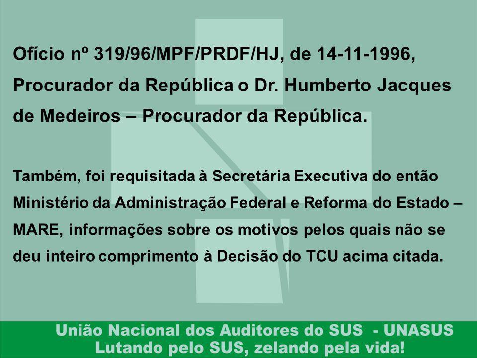 Ofício nº 319/96/MPF/PRDF/HJ, de 14-11-1996, Procurador da República o Dr. Humberto Jacques de Medeiros – Procurador da República. Também, foi requisi