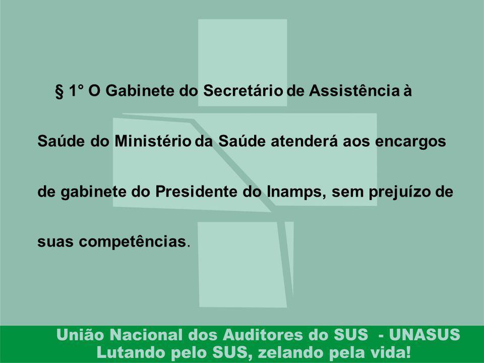 § 1° O Gabinete do Secretário de Assistência à Saúde do Ministério da Saúde atenderá aos encargos de gabinete do Presidente do Inamps, sem prejuízo de