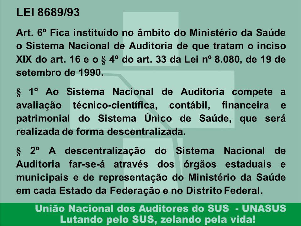 LEI 8689/93 Art. 6º Fica instituído no âmbito do Ministério da Saúde o Sistema Nacional de Auditoria de que tratam o inciso XIX do art. 16 e o § 4º do