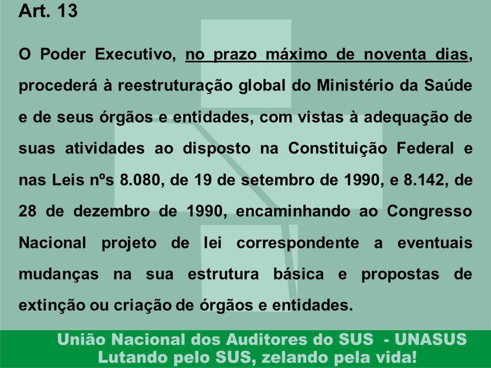 Art. 13 O Poder Executivo, no prazo máximo de noventa dias, procederá à reestruturação global do Ministério da Saúde e de seus órgãos e entidades, com