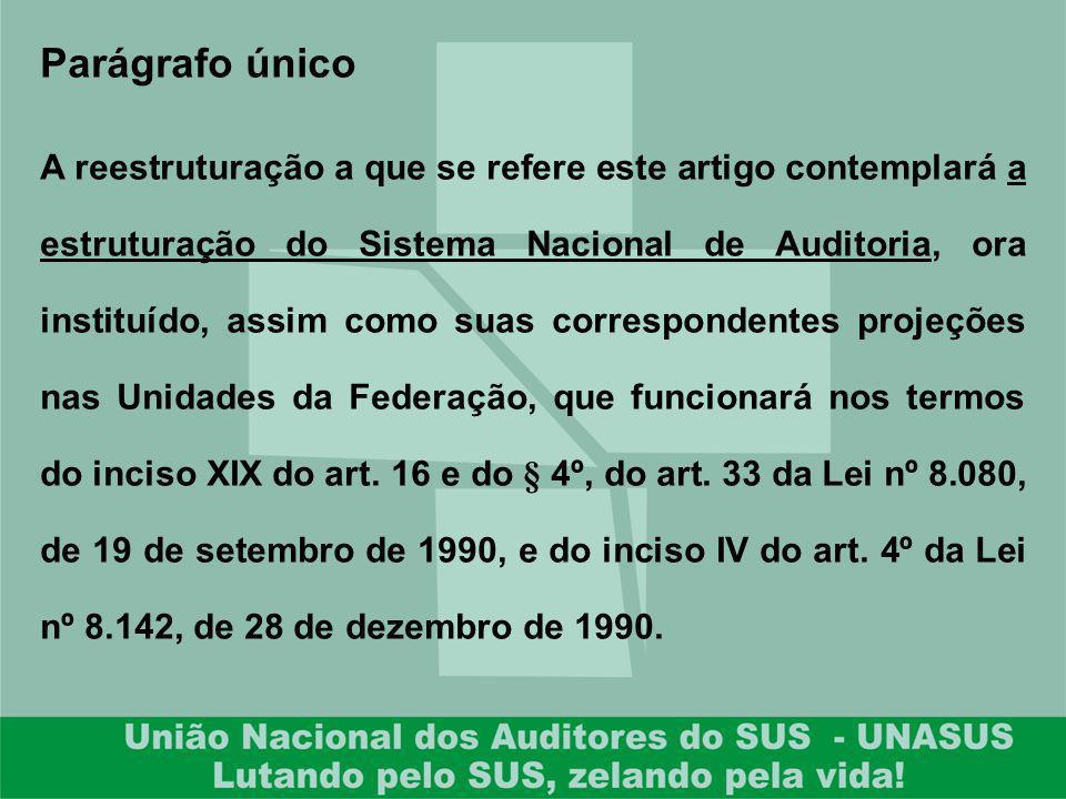 Parágrafo único A reestruturação a que se refere este artigo contemplará a estruturação do Sistema Nacional de Auditoria, ora instituído, assim como s