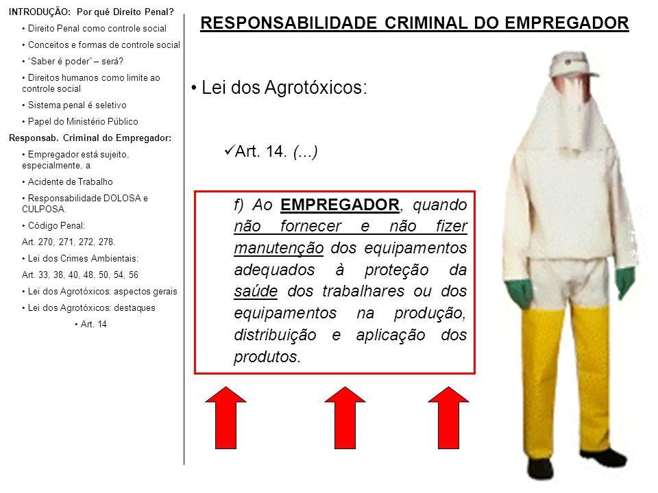 RESPONSABILIDADE CRIMINAL DO EMPREGADOR Lei dos Agrotóxicos: Art. 14. (...) INTRODUÇÃO: Por quê Direito Penal? Direito Penal como controle social Conc