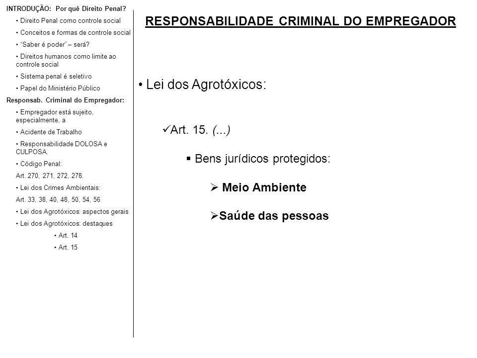 RESPONSABILIDADE CRIMINAL DO EMPREGADOR Lei dos Agrotóxicos: Art. 15. (...) Bens jurídicos protegidos: Meio Ambiente Saúde das pessoas INTRODUÇÃO: Por