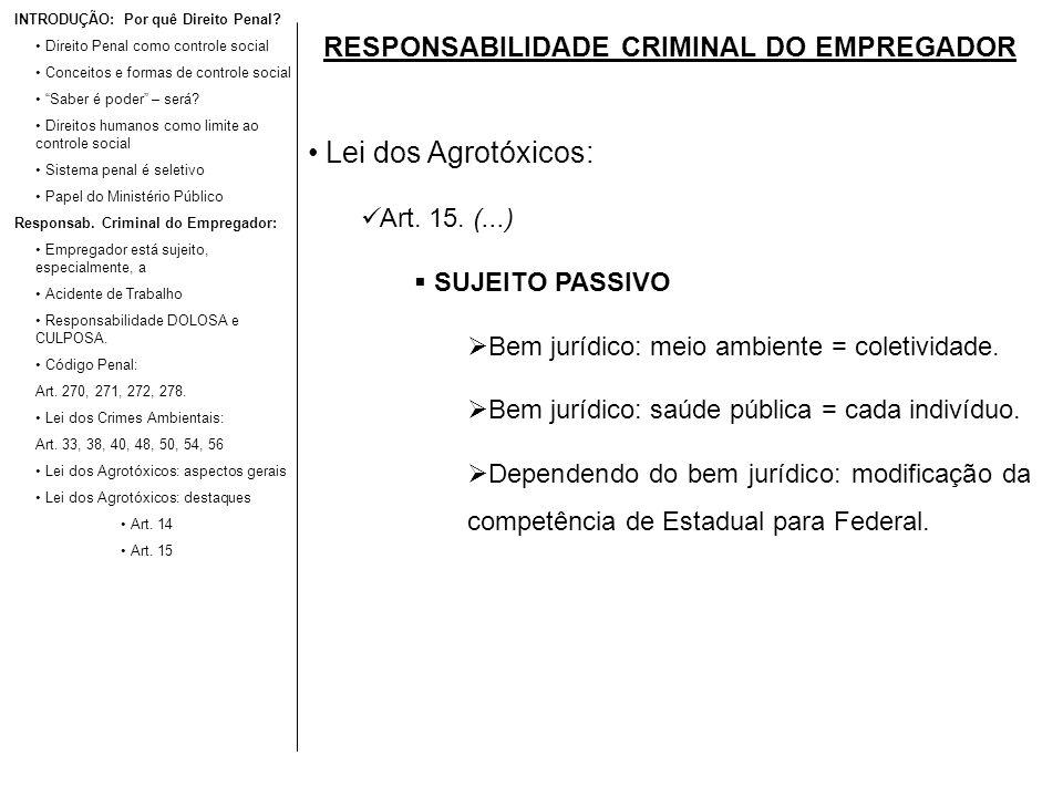 RESPONSABILIDADE CRIMINAL DO EMPREGADOR Lei dos Agrotóxicos: Art. 15. (...) SUJEITO PASSIVO Bem jurídico: meio ambiente = coletividade. Bem jurídico: