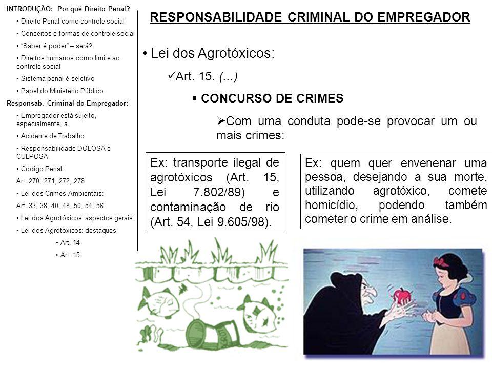 RESPONSABILIDADE CRIMINAL DO EMPREGADOR Lei dos Agrotóxicos: Art. 15. (...) CONCURSO DE CRIMES Com uma conduta pode-se provocar um ou mais crimes: INT