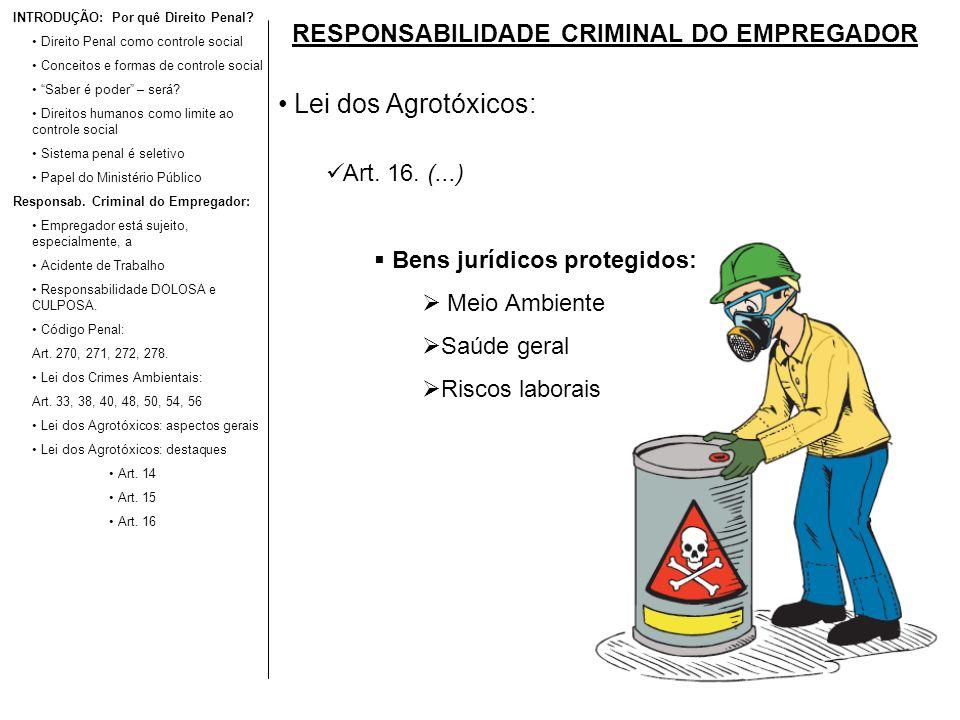 RESPONSABILIDADE CRIMINAL DO EMPREGADOR Lei dos Agrotóxicos: Art. 16. (...) Bens jurídicos protegidos: Meio Ambiente Saúde geral Riscos laborais INTRO