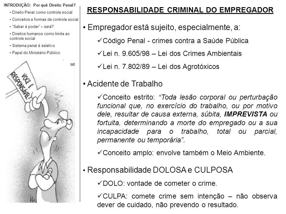 RESPONSABILIDADE CRIMINAL DO EMPREGADOR Empregador está sujeito, especialmente, a: Código Penal - crimes contra a Saúde Pública Lei n. 9.605/98 – Lei