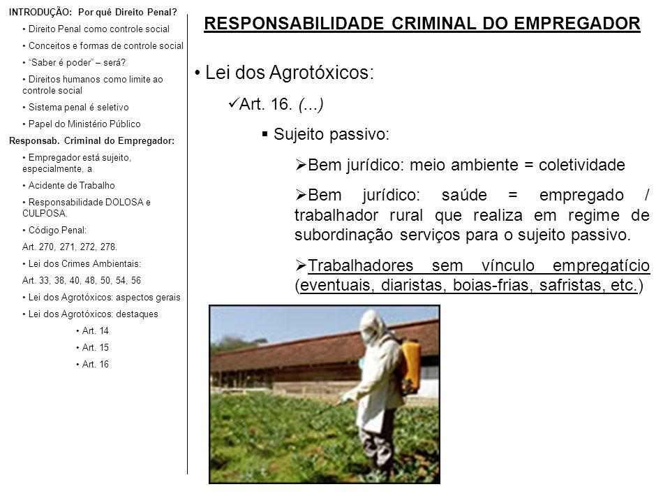 RESPONSABILIDADE CRIMINAL DO EMPREGADOR Lei dos Agrotóxicos: Art. 16. (...) Sujeito passivo: Bem jurídico: meio ambiente = coletividade Bem jurídico: