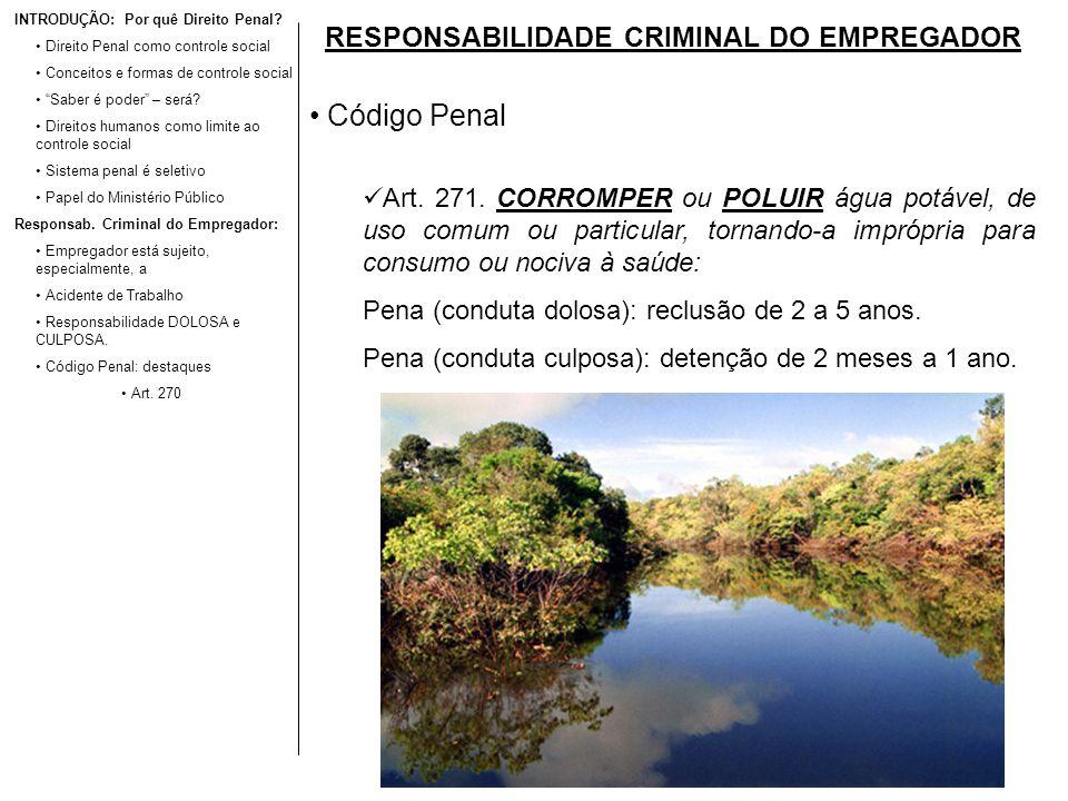 RESPONSABILIDADE CRIMINAL DO EMPREGADOR Código Penal Art. 271. CORROMPER ou POLUIR água potável, de uso comum ou particular, tornando-a imprópria para