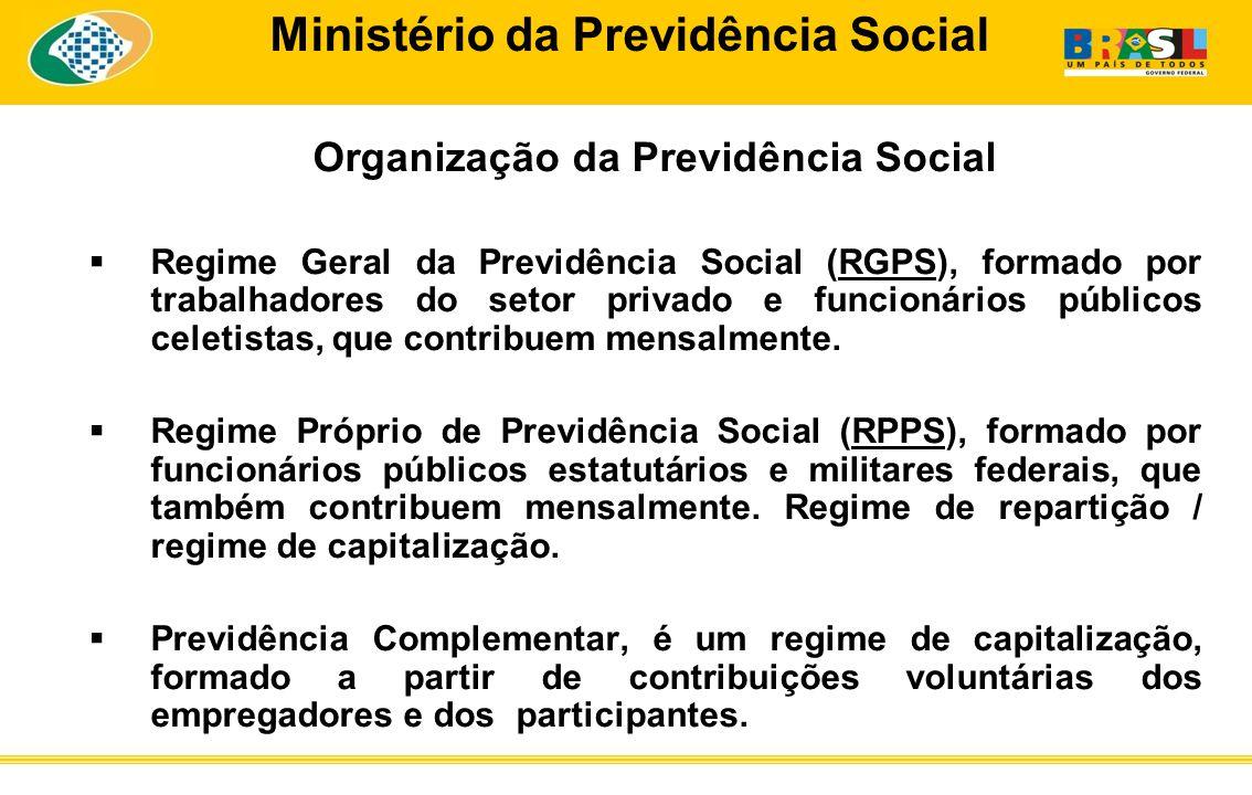 Ministério da Previdência Social Organização da Previdência Social Regime Geral da Previdência Social (RGPS), formado por trabalhadores do setor privado e funcionários públicos celetistas, que contribuem mensalmente.