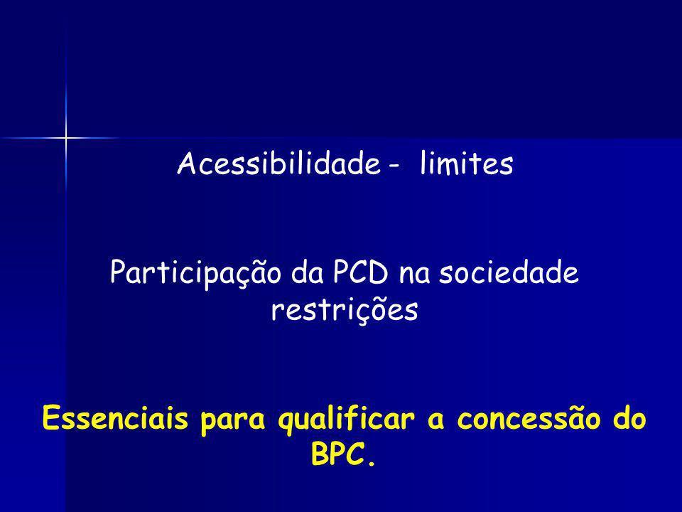 Acessibilidade - limites Participação da PCD na sociedade restrições Essenciais para qualificar a concessão do BPC.