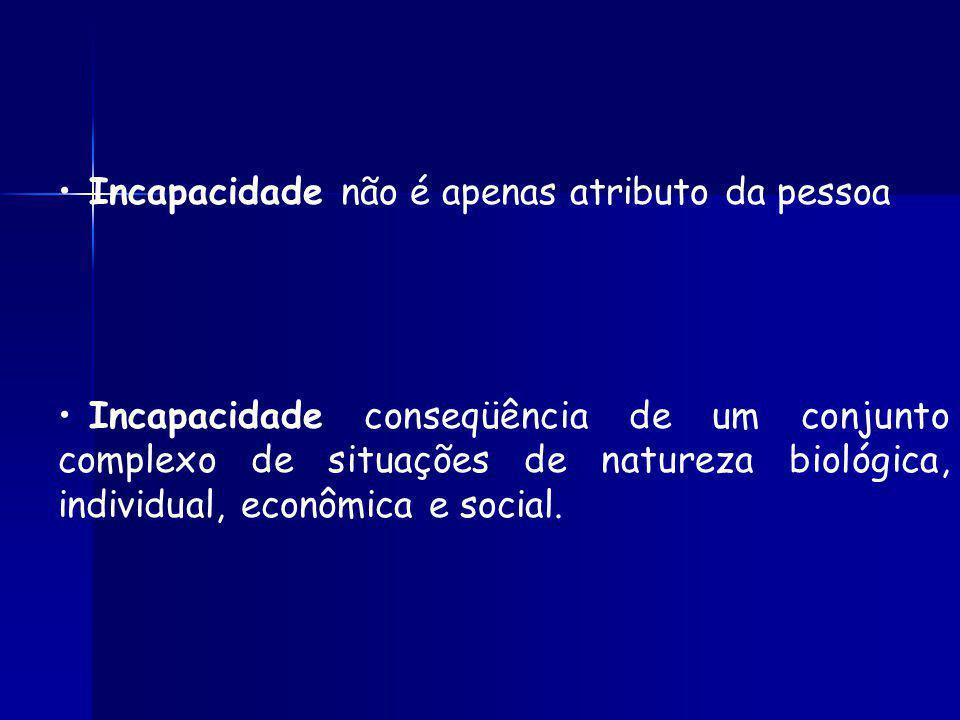 Incapacidade não é apenas atributo da pessoa Incapacidade conseqüência de um conjunto complexo de situações de natureza biológica, individual, econômica e social.