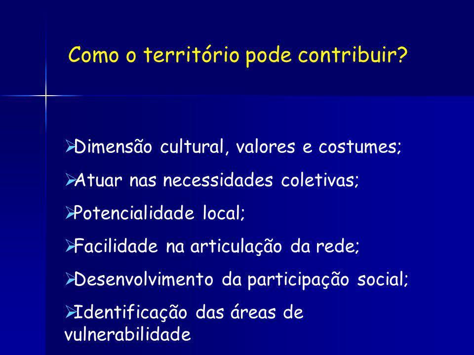 Dimensão cultural, valores e costumes; Atuar nas necessidades coletivas; Potencialidade local; Facilidade na articulação da rede; Desenvolvimento da participação social; Identificação das áreas de vulnerabilidade Como o território pode contribuir?