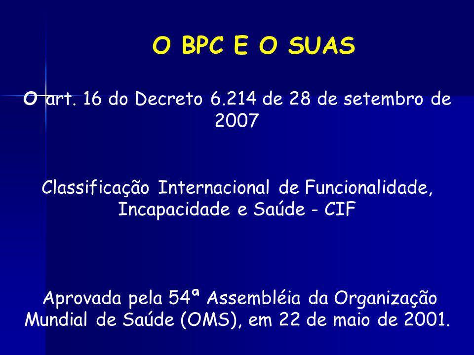 O art. 16 do Decreto 6.214 de 28 de setembro de 2007 Classificação Internacional de Funcionalidade, Incapacidade e Saúde - CIF Aprovada pela 54ª Assem