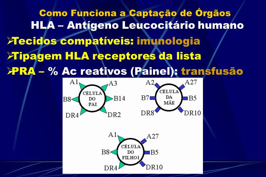 Como Funciona a Captação de Órgãos HLA – Antígeno Leucocitário humano Tecidos compatíveis: imunologia Tipagem HLA receptores da lista PRA – % Ac reativos (Painel): transfusão