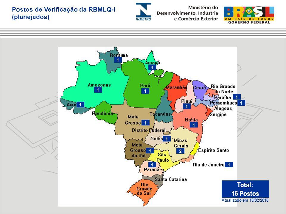 2 1 1 1 1 1 1 1 1 1 1 1 1 1 1 Postos de Verificação da RBMLQ-I (planejados) Atualizado em 18/02/2010 Total: 16 Postos