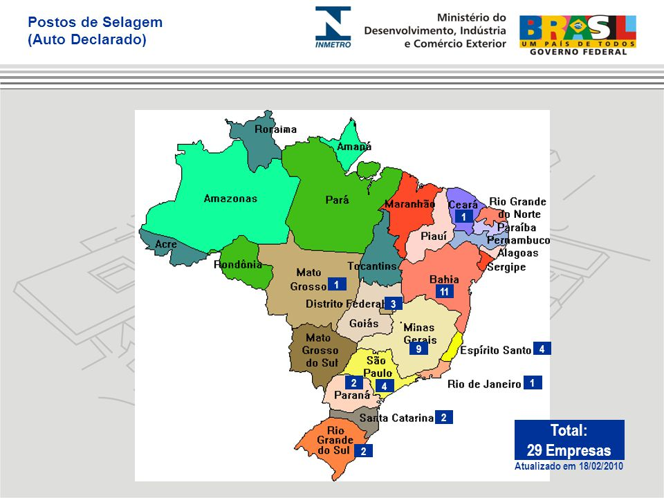 1 4 3 9 1 12 2 2 4 11 Atualizado em 18/02/2010 Total: 29 Empresas Postos de Selagem (Auto Declarado)