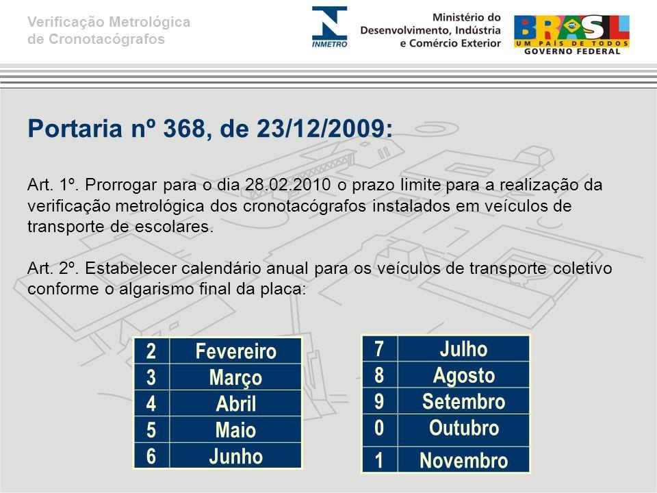 Portaria nº 368, de 23/12/2009: Art.1º.