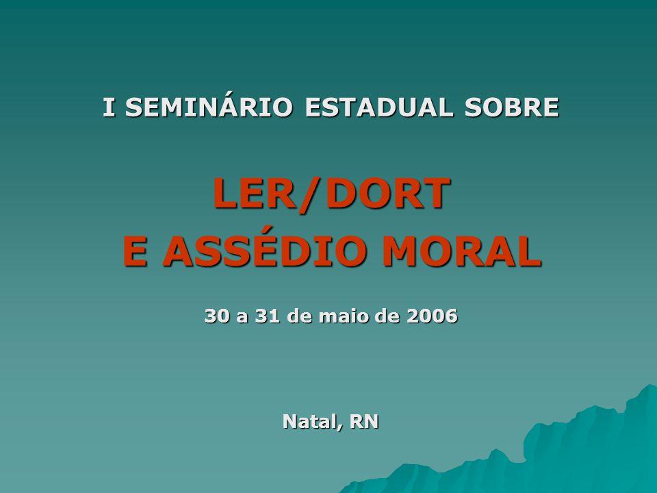I SEMINÁRIO ESTADUAL SOBRE LER/DORT E ASSÉDIO MORAL 30 a 31 de maio de 2006 Natal, RN