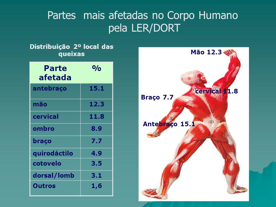 Partes mais afetadas no Corpo Humano pela LER/DORT Parte afetada % antebraço15.1 mão12.3 cervical11.8 ombro8.9 braço7.7 quirodáctilo4.9 cotovelo3.5 dorsal/lomb3.1 Outros1,6 Distribuição 2º local das queixas Mão 12.3 Braço 7.7 cervical11.8 Antebraço 15.1