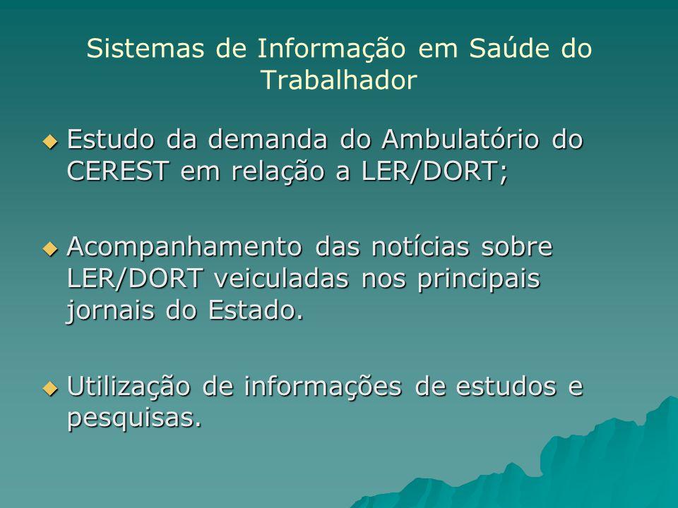 Sistemas de Informação em Saúde do Trabalhador Estudo da demanda do Ambulatório do CEREST em relação a LER/DORT; Estudo da demanda do Ambulatório do CEREST em relação a LER/DORT; Acompanhamento das notícias sobre LER/DORT veiculadas nos principais jornais do Estado.