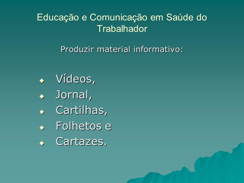 Educação e Comunicação em Saúde do Trabalhador Produzir material informativo: Vídeos, Vídeos, Jornal, Jornal, Cartilhas, Cartilhas, Folhetos e Folhetos e Cartazes.