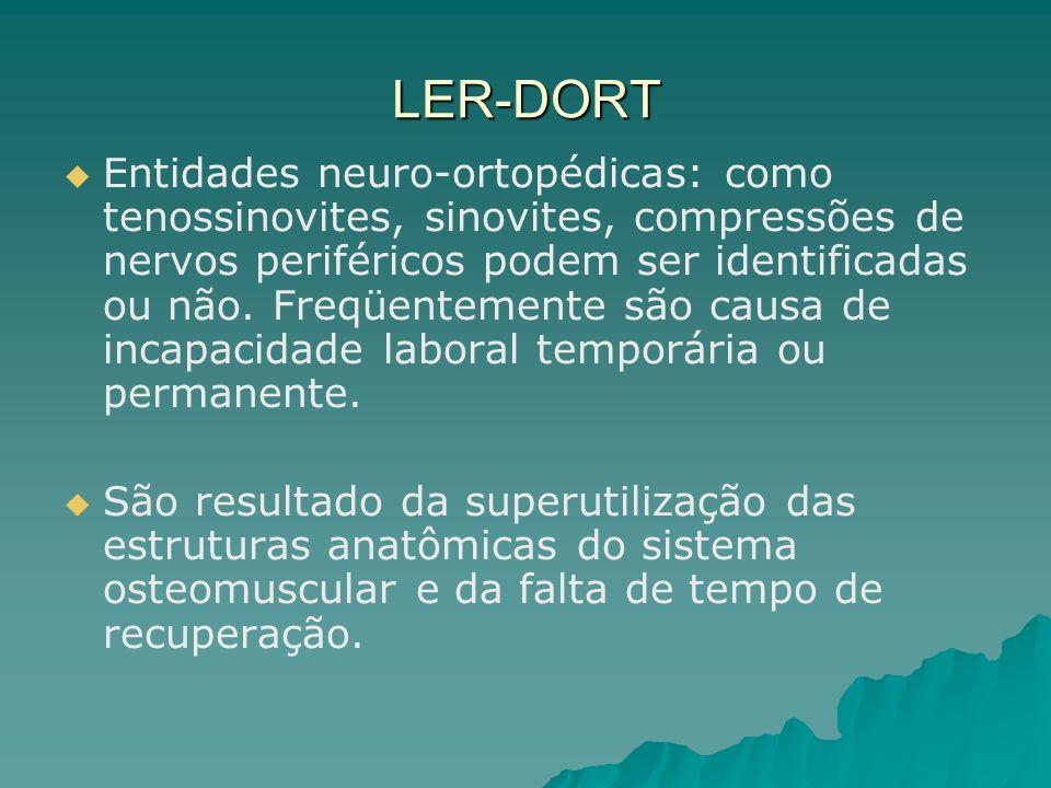 LER-DORT Entidades neuro-ortopédicas: como tenossinovites, sinovites, compressões de nervos periféricos podem ser identificadas ou não.