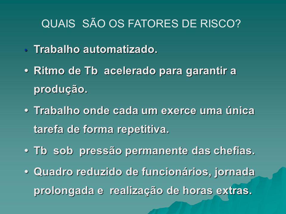 QUAIS SÃO OS FATORES DE RISCO.Trabalho automatizado.