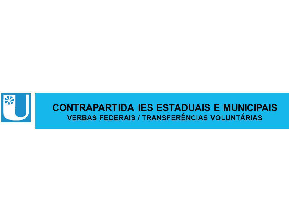 ABRUEM CONTRAPARTIDA IES ESTADUAIS E MUNICIPAIS VERBAS FEDERAIS / TRANSFERÊNCIAS VOLUNTÁRIAS