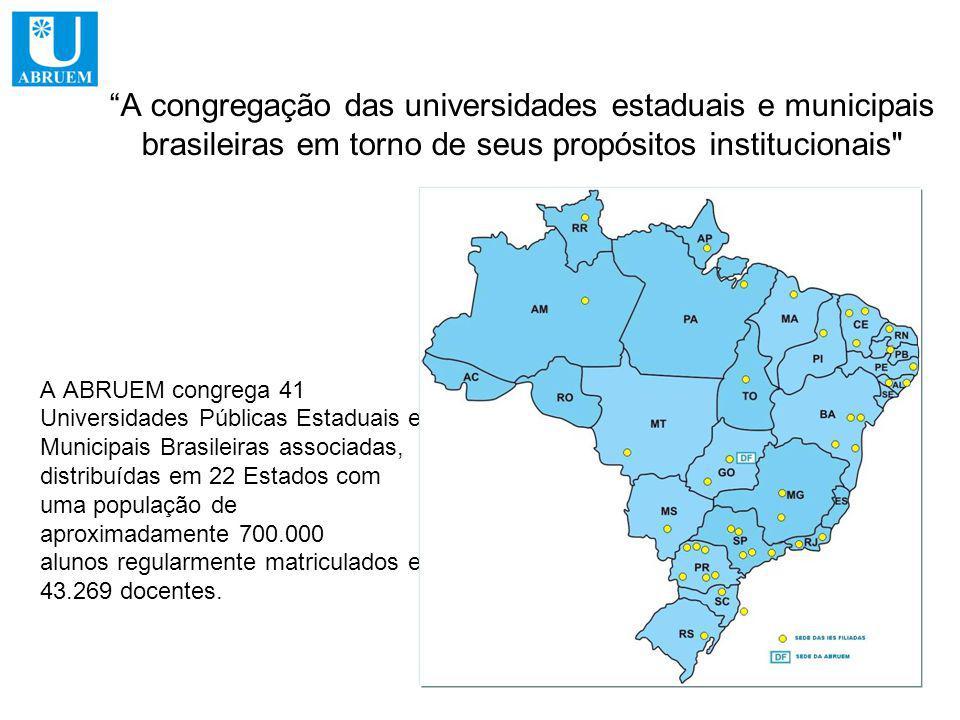 A congregação das universidades estaduais e municipais brasileiras em torno de seus propósitos institucionais A ABRUEM congrega 41 Universidades Públicas Estaduais e Municipais Brasileiras associadas, distribuídas em 22 Estados com uma população de aproximadamente 700.000 alunos regularmente matriculados e 43.269 docentes.