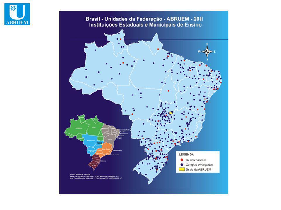 ABRUEM 28 IES ESTADUAIS E MUNICIPAIS Nº de vagas Total 2009 2010 2011 Universidade do Estado do Pará – UEPA602040026602960 Universidade Estadual da Paraíba – UEPB85709103830 Universidade Estadual de Ponta Grossa - UEPG10005504500 Universidade Estadual de Londrina – UEL5301603700 Universidade Estadual de Maringá – UEM22909001270120 Universidade Estadual do Centro-Oeste – UNICENTRO93040045080 Universidade Estadual do Oeste do Paraná – UNIOESTE360028080 Universidade de Pernambuco – UPE11034145445655015 Universidade do Estado do Piauí – UESPI562518453150630 Universidade Estadual do Norte Fluminense Darcy Ribeiro – UENF81585365 Universidade do Estado do Rio de Janeiro – UERJ9900420570 Universidade do Estado do Rio Grande do Norte – UERN1150360390400 Universidade Estadual de Roraima – UERR360120 28 IES 129.087 34.26754.87039.950 Plano Nacional de Formação dos Professores da Educação Básica Participação da ABRUEM 2009 - 2011