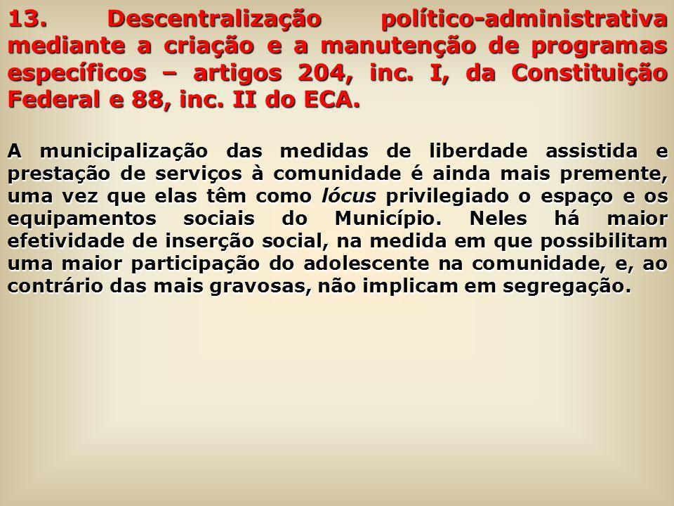 13. Descentralização político-administrativa mediante a criação e a manutenção de programas específicos – artigos 204, inc. I, da Constituição Federal