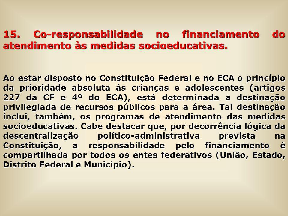 15. Co-responsabilidade no financiamento do atendimento às medidas socioeducativas. Ao estar disposto no Constituição Federal e no ECA o princípio da