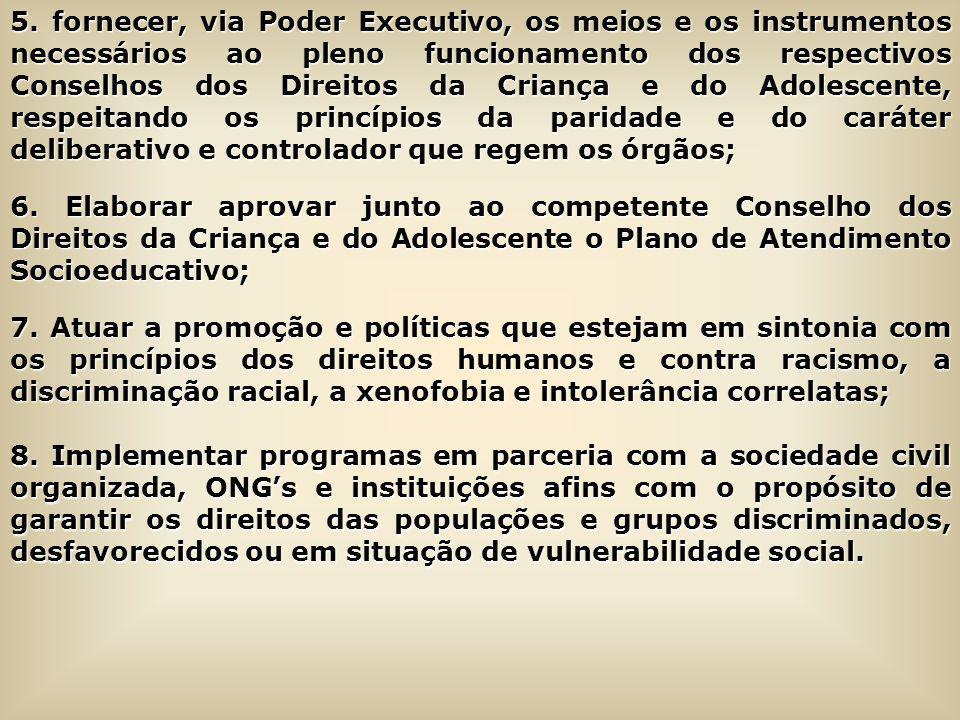 5. fornecer, via Poder Executivo, os meios e os instrumentos necessários ao pleno funcionamento dos respectivos Conselhos dos Direitos da Criança e do