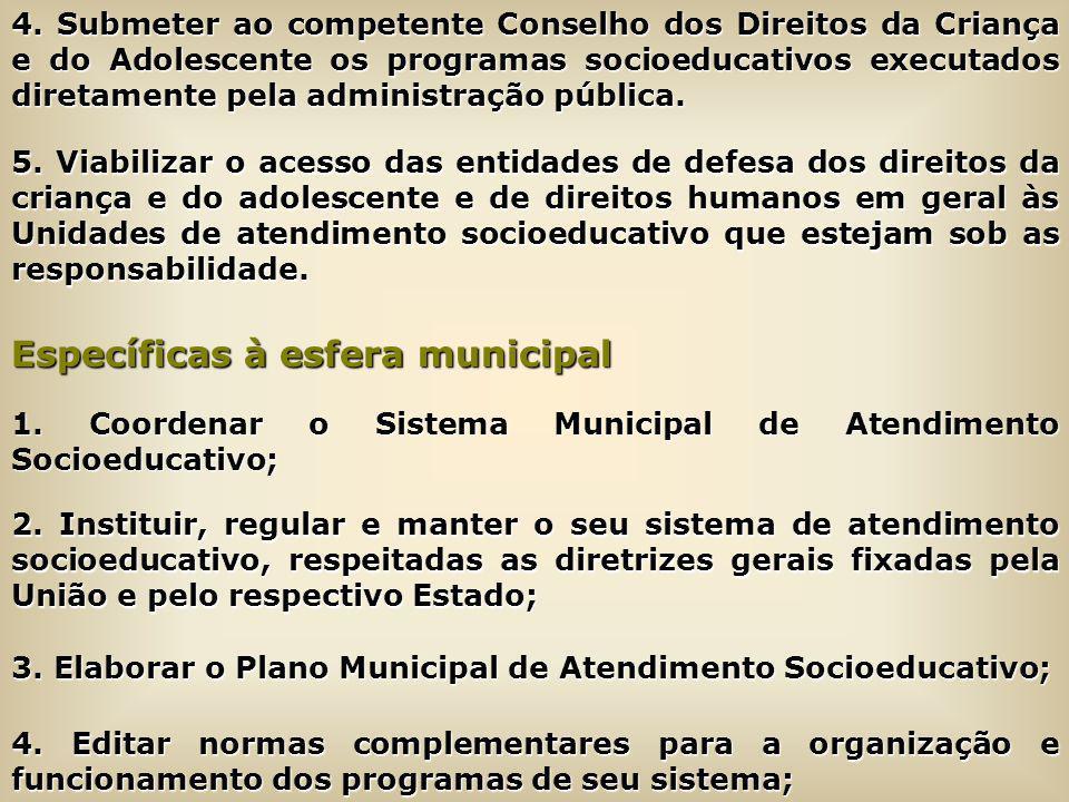 4. Submeter ao competente Conselho dos Direitos da Criança e do Adolescente os programas socioeducativos executados diretamente pela administração púb