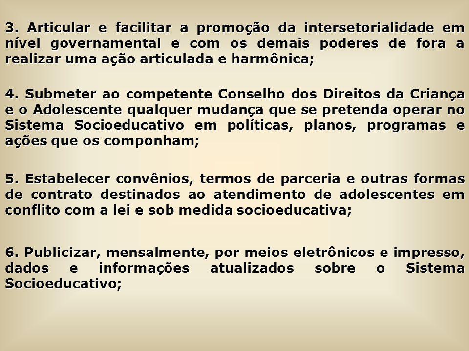 3. Articular e facilitar a promoção da intersetorialidade em nível governamental e com os demais poderes de fora a realizar uma ação articulada e harm
